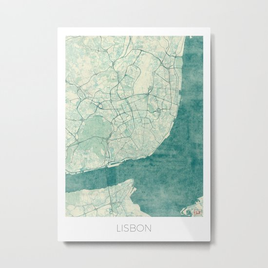 Lisbon Map Blue Vintage Metal Print