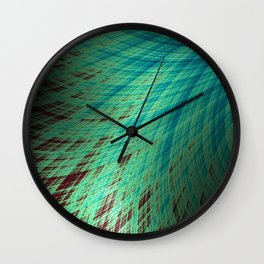 Run Off - Teal and Brown - Fractal Art Wall Clock