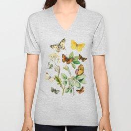 Butterflies and Flowers Vintage Illustration 5 Unisex V-Neck