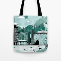 travel poster Tote Bags featuring Vancouver Travel Poster Illustration by ClaireIllustrations