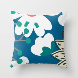 Blue floral view Throw Pillow