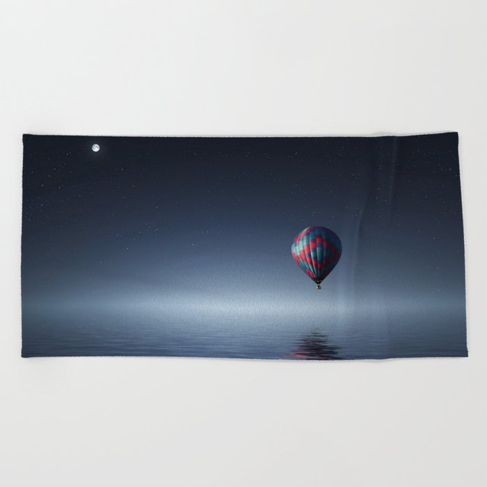 Hot Air Balloon Over Water Beach Towel