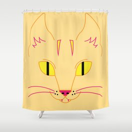 Funky Cat (yellow) Shower Curtain