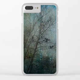 Blackbird Convention on a Snowy Day Clear iPhone Case