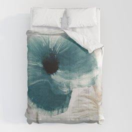 Teal Poppies Comforters