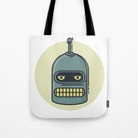 bender Tote Bags featuring Bender by Thiago Grossmann