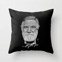 robin williams Throw Pillows featuring Robin Williams by Svartrev
