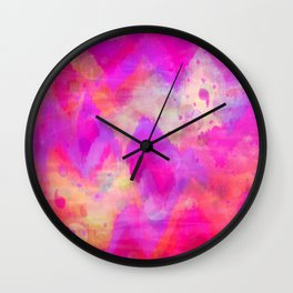 BOLD QUOTATION, Revisited - Intense Raspberry Peachy Pink Vibrant Abstract Watercolor Ikat Pattern Wall Clock