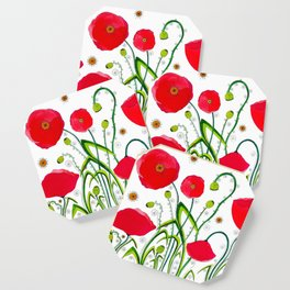 Flower#1 - Red Poppies Coaster
