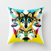 wolves Throw Pillows featuring wolves by Alvaro Tapia Hidalgo