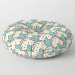 Fan Pattern Gray and Turquoise 991 Floor Pillow