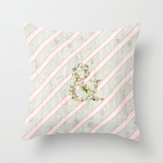 Romantic Floral Ampersand Pink Stripes Wood Throw Pillow