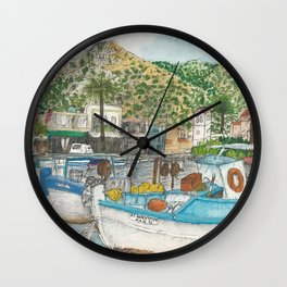 Boats in Elounda Harbour Wall Clock