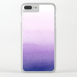Purple Watercolor Design Clear iPhone Case