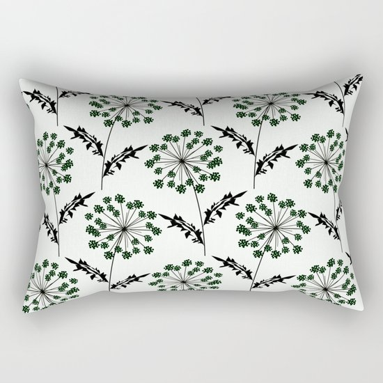 Delicate flowers on a black background. Rectangular Pillow