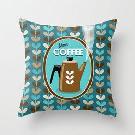 Mid Century Modern Coffee Kettle Kitchen Wall Decor // Caribbean Blue, Turquoise, Brown, Khaki, Tan Throw Pillow