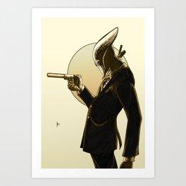 Robot Assassin, Sepia Art Print