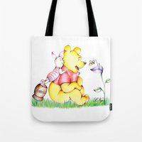 winnie the pooh Tote Bags featuring Winnie the Pooh & Piglet by laura nye.