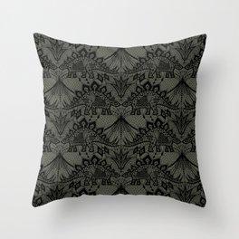 Stegosaurus Lace - Black / Grey Throw Pillow