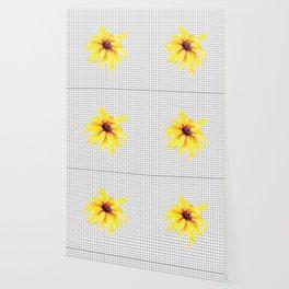 Watercolor Flower on Grid Wallpaper