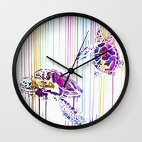 turtles Wall Clocks featuring Turtles by Lexi Hannah