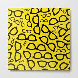 Smart Glasses Pattern - Black and Yellow Metal Print