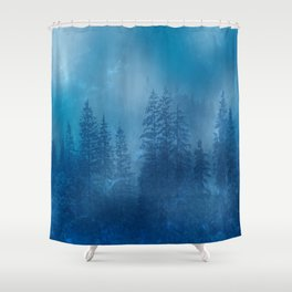 Blue Magical Forest Shower Curtain