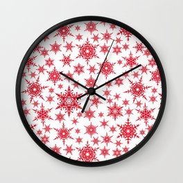 Red snowflakes on white. Wall Clock