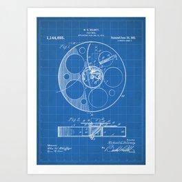 Film Reel Patent - Classic Cinema Art - Blueprint Art Print