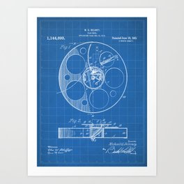 Film Reel Patent - Classic Cinema Art - Blueprint Art Print