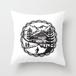 Swiss Chalet Alpine Hiker Decoupage Throw Pillow