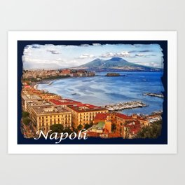 Napoli. Vesuvio and the bay Art Print