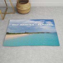 Tropical sandy beach of Sint Maarten - St. Martin Rug