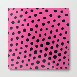 Black Dots with Pink Background Metal Print