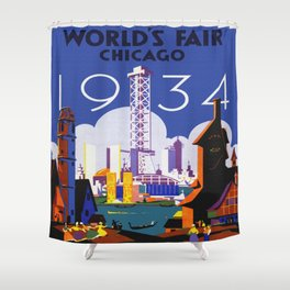 1934 Chicago World's Fair Travel Poster Shower Curtain
