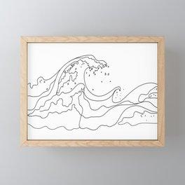 Minimal Line Art Ocean Waves Framed Mini Art Print