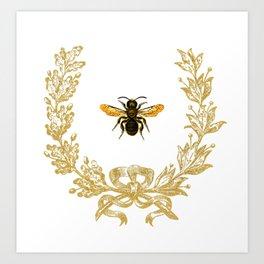 French Bee acorn wreath Art Print