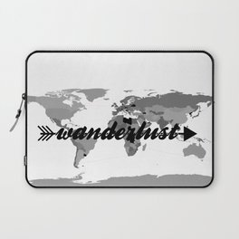 Wanderlust Black and White Map Laptop Sleeve