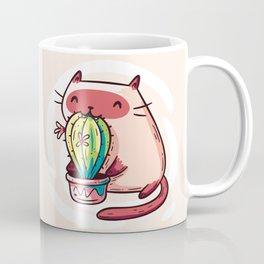 Cat Eating Cactus Coffee Mug