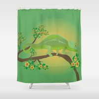 chameleon Shower Curtains featuring Chameleon by Bwiselizzy