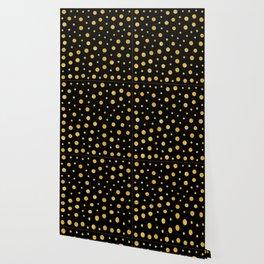 Elegant polka dots - Black Gold Wallpaper