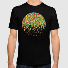 Pixel Chaos Black LARGE Mens Fitted Tee