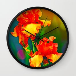 Electrified Orange Iris in the Garden Wall Clock