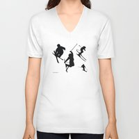 skiing V-neck T-shirts featuring Skiing silhouettes by By Myyna