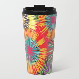 Bright Colorful Abstract Flowers Travel Mug