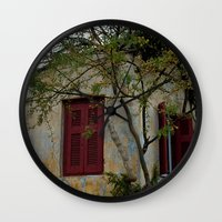 greek Wall Clocks featuring Greek Cottage by Upperleft Studios