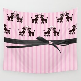 Poodles And Pink Hearts Wall Tapestry