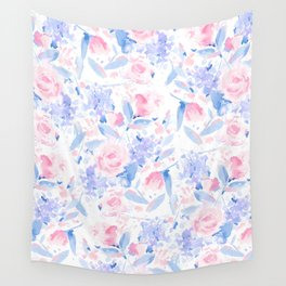 Scattered Lovers Blue on White Wall Tapestry