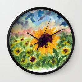 Sunflower Sunset Wall Clock