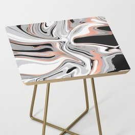 Liquid Marble with Copper Lines 015 Side Table